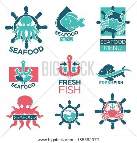 Seafood colorful logotypes flat set in flat design on white. Vector collection of marine products badges with sea octopus or crab on helm or anchor. Labels poster of restaurants with sea dishes