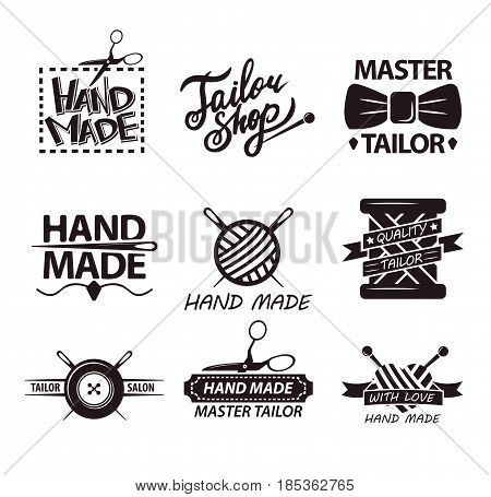 Tailor salon advertisement logotypes. Set of logos for handmade shops. Sewing stitching needlework vintage emblems. Safety pins, spool of threads in stickers design vector elements for knitting