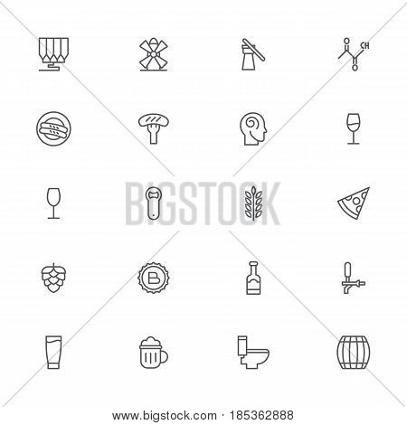 Beer icon set in outline style for any design vector illustration