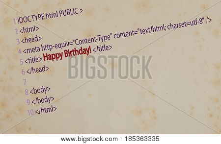 card with HTML code and c the title: