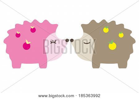 Cute Hedgehog cartoon Vector lover couple, vector illustration
