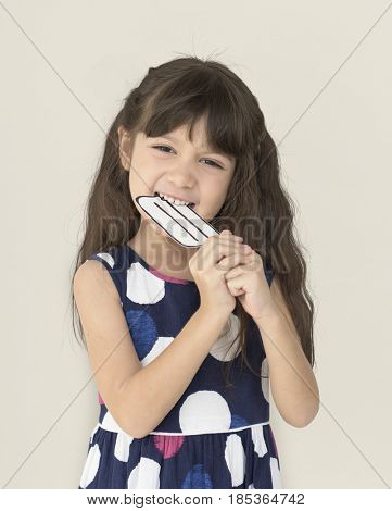 Little Girl Smiling Eating Icecream