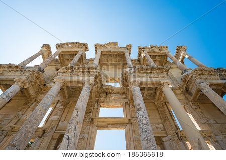 Ruins of the library of Celsus in Ephesus Turkey,. Ephesus contains the ancient largest collection of Roman ruins in the eastern Mediterranean.