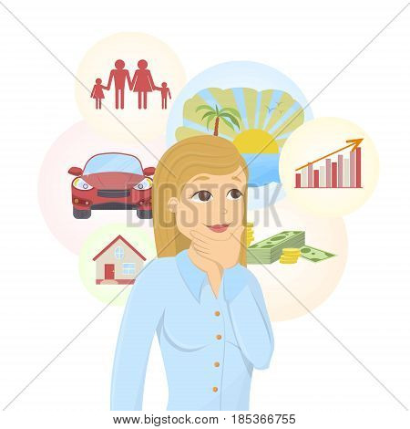 Isolated dreaming businesswoman with dream bubbles with family, money, car and more.