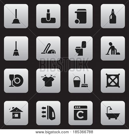 Set Of 16 Editable Hygiene Icons. Includes Symbols Such As Vacuum Cleaner, Bathroom, Broomstick And More. Can Be Used For Web, Mobile, UI And Infographic Design.