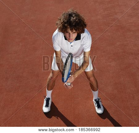 tennis player with racket during a match game