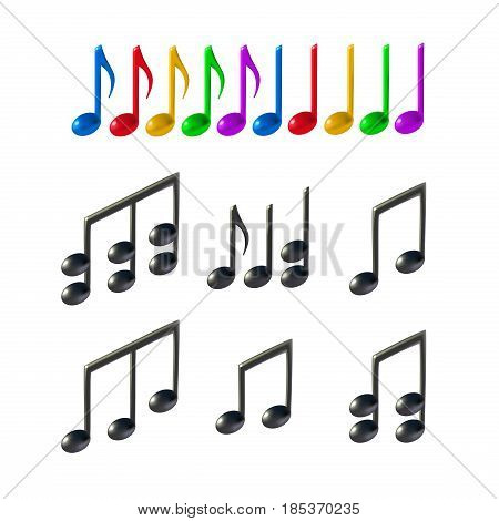 Colorful and black music notes on white background. 3d realistic vector icon set created with gradient mesh.