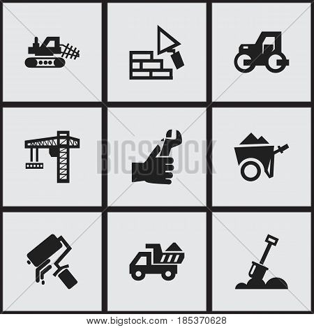 Set Of 9 Editable Construction Icons. Includes Symbols Such As Oar , Mule, Handcart. Can Be Used For Web, Mobile, UI And Infographic Design.