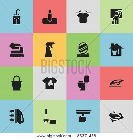Set Of 16 Editable Hygiene Icons. Includes Symbols Such As Restroom, Bucket With Mop, Pail And More. Can Be Used For Web, Mobile, UI And Infographic Design.