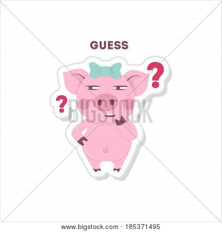Guessing pig sticker. Isolated cartoon sticker. Funny pig with question marks.