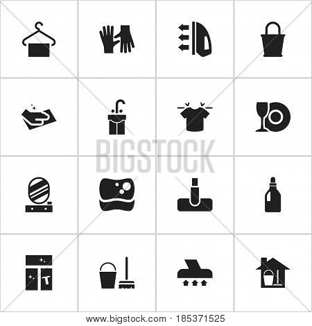 Set Of 16 Editable Cleanup Icons. Includes Symbols Such As Laundry Detergent, Pail, Hoover And More. Can Be Used For Web, Mobile, UI And Infographic Design.