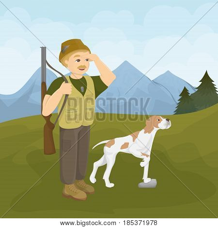 Hunter with dog. Hunt with gun and bestfriend.
