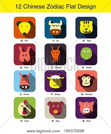 12 Chinese Traditional Zodiac Animal Face Flat Icon Design