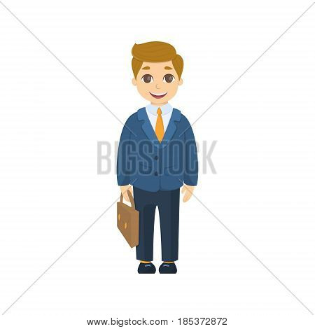 Isolated cartoon businessman in suit and with briefcase on white background.