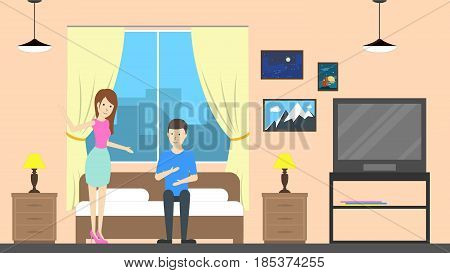 Hostel room service with host. Contemporary design. Couple