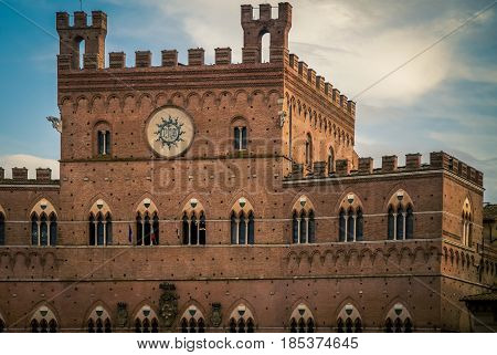 Building in a square in Siena Italy