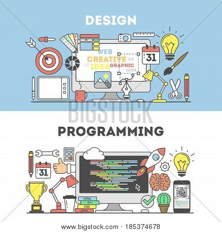 Programming and design concept illustration. Signs and icons on blue background.