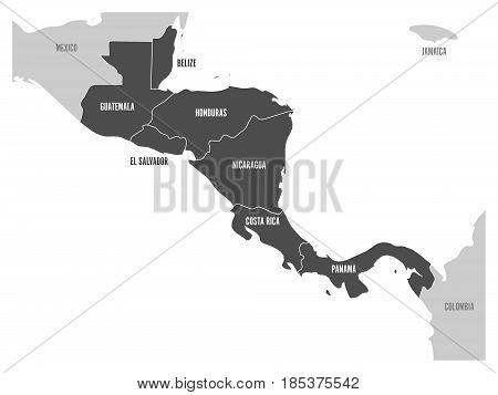 Map of Central America region with dark gray highlighted central american states. Country name labels. Simple flat vector illustration.