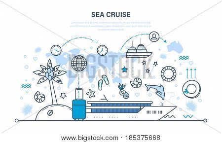 Summer vacation on the sea and the beach, travel by plane and cruise on the liner, familiarity with culture, environment. Illustration thin line design of vector doodles, infographics elements.