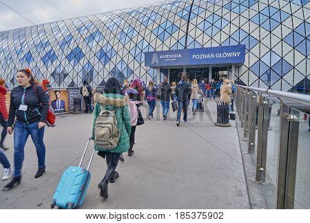 Poznan, Poland - April 30, 2017: Train And Bus Station On 30 Apr