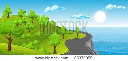 Cartoon illustration of the rural summer landscape with road and ocean