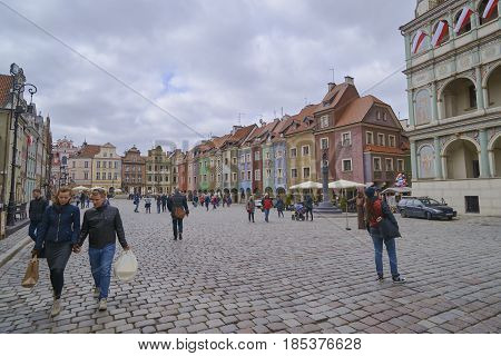 Poznan, Poland - April 30, 2017: Old Town Square On 30 April 201