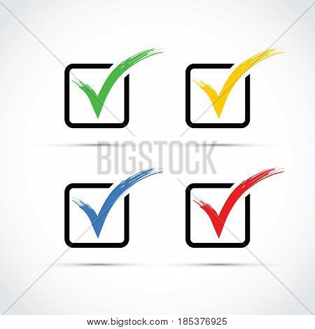 a set of colourful tick box icons
