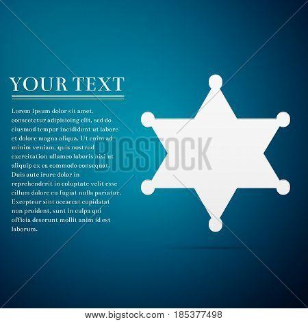 Hexagram sheriff star badge flat icon on blue background. Vector Illustration