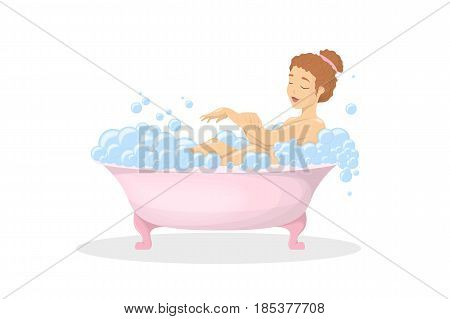 Woman in bath tub. Taking the bath in foam and soap.