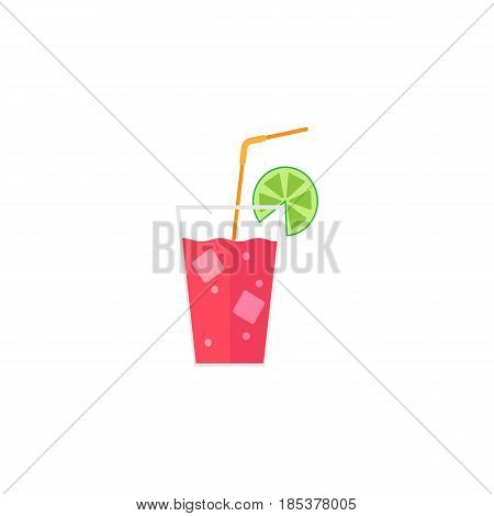 Cocktail flat icon, food drink, tipple, a colorful solid pattern on a white background, eps 10.