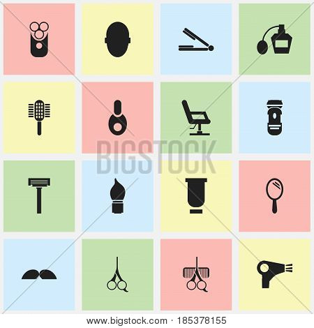 Set Of 16 Editable Coiffeur Icons. Includes Symbols Such As Container, Vial, Desiccator And More. Can Be Used For Web, Mobile, UI And Infographic Design.