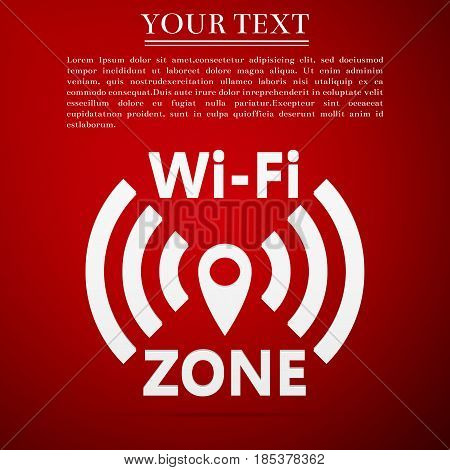 Wi-Fi network flat icon on red background. Vector Illustration