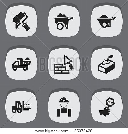 Set Of 9 Editable Construction Icons. Includes Symbols Such As Camion, Employee, Endurance And More. Can Be Used For Web, Mobile, UI And Infographic Design.
