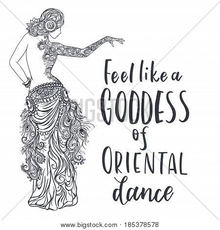 Girl belly dance vector illustration, background. Calligraphy banner. Use for posters, covers, flyers, postcards banner designs