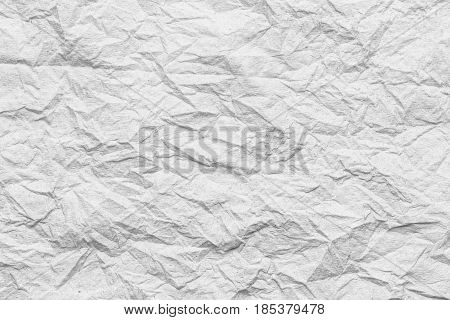 white Tissue surface of wrinkle or Crumpled for the design Texture background.