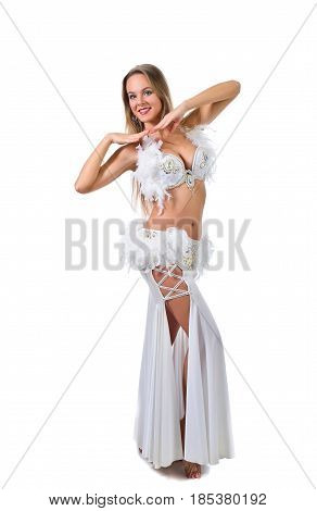 Beauty Blonde In White Belly Dancer Costume .