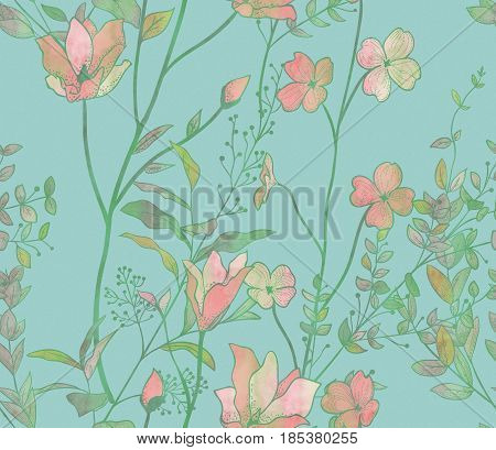 Watercolor Decorative Seamless Background Pattern with Drawn Flowers, Herbs, Plants, Branches. Doodle Style Greenery, Lush Foliage, Foliate. Illustration. Pattern Swatch