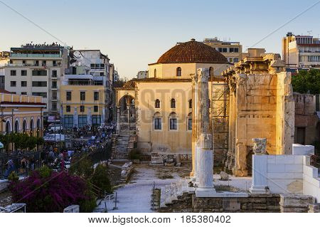 ATHENS, GREECE - MAY 2, 2017: Remains of Hadrian's Library and the old mosque in the old town of Athens, Greece on May 02 2017.