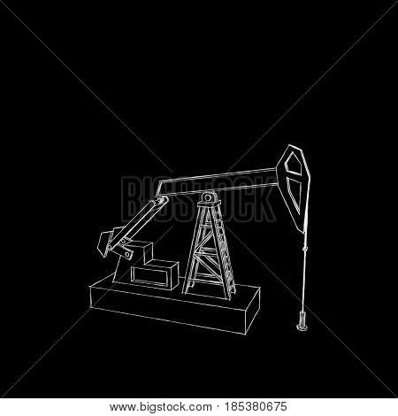 Oil pump jack Isolated on black background. Sketch illustration.