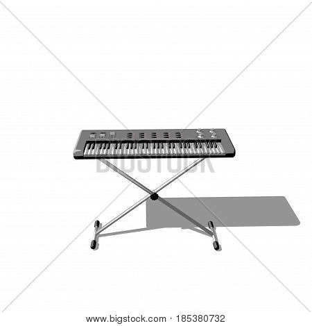 Synthesizer. Isolated on white background. 3D rendering illustration. Cartoon style.