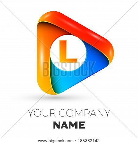 Letter L vector logo symbol in the colorful triangle on grey background. Vector template for your design