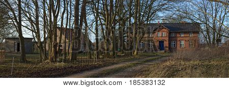 Panorama Of Manor House Listed As Monument In Jager Near Greifswald, Mecklenburg-vorpommern, Germany