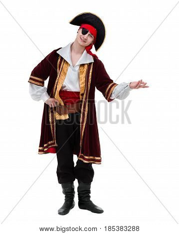 man wearing a pirate costume posing with holding gesture, isolated on white in full length.
