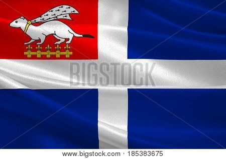 Flag of Saint-Malo is a walled port city in Brittany in northwestern France on the English Channel. 3D illustration