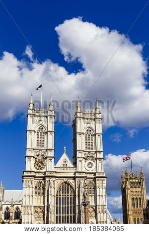 Westminster Abbey Facade In Gothic Architecture Style On A Sunny Summer Day