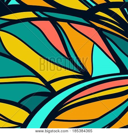Colorful linear abstract background. Blue and yellow tones