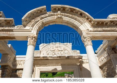 Ancient Ruins In Ephesus Turkey, Ephesus Contains The Ancient Largest Collection Of Roman Ruins In T