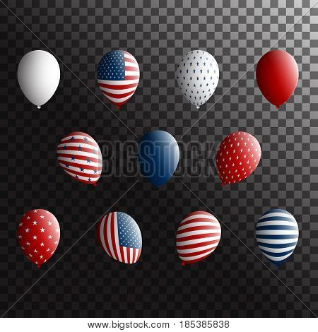 USA Independence Day holiday symbols - balloons set. Stock vector
