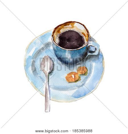 The coffee cup with brown sugar and spoon on white background watercolor illustration in hand-drawn style.