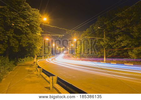 night asphalt highways road in rural scene land transport and traveling background